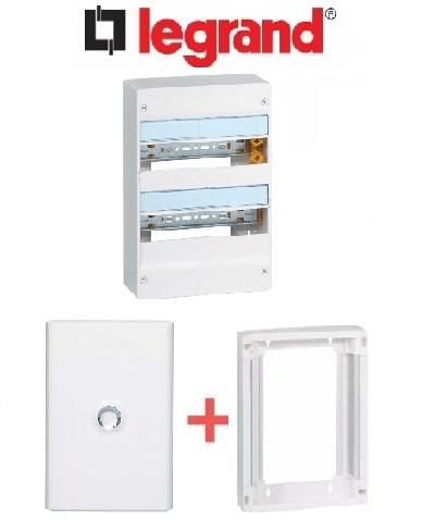 LEGRAND - PACK Coffret + Porte + Réhausse - Coffret 26 modules et 2 rangées
