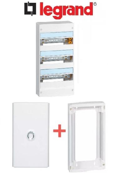 LEGRAND - PACK Coffret + Porte + Réhausse - Coffret 39 modules et 3 rangées