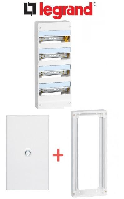 LEGRAND - PACK Coffret + Porte + Réhausse - Coffret 52 modules et 4 rangées