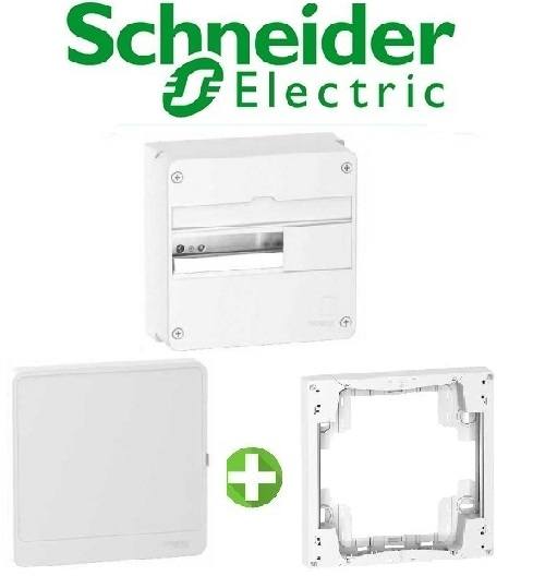 SCHNEIDER - Pack Coffret + Porte + Réhausse - Coffret 13 modules 1 rangée