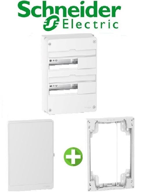 SCHNEIDER - Pack Coffret + Porte + Réhausse - Coffret 26 modules 2 rangées
