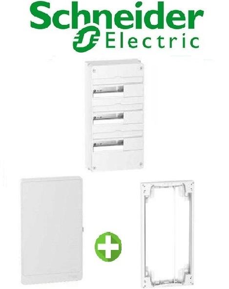 SCHNEIDER - Pack Coffret + Porte + Réhausse - Coffret 39 modules 3 rangées
