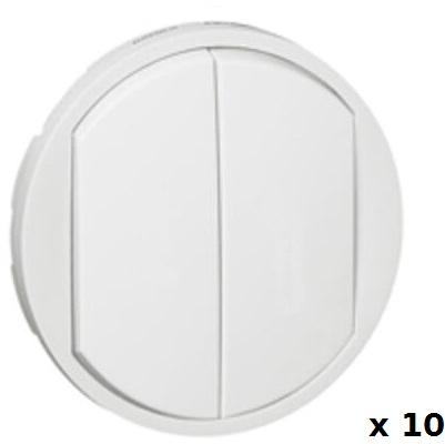 LEGRAND - LOT Céliane 10 Enjoliveurs larges pour double interrupteur - va-et-vient ou poussoir - Blanc Réf - 068002