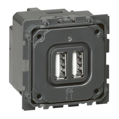 LEGRAND - Chargeur double USB Céliane - Type A 2.4A - 12W - REF 067462
