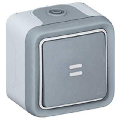LEGRAND - Interrupteur ou va-et-vient lumineux étanche Plexo complet IP55 saillie 10AX 250V - gris - REF 069713