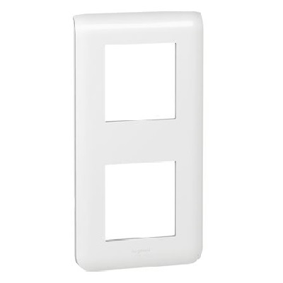 LEGRAND - Plaque Programme Mosaic - 2x2 modules - vertical - blanc - REF 078822
