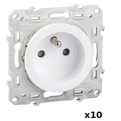 LOT - SCHNEIDER ELECTRIC - 10 prises 2P+T Odace - à vis 2 connexions rapides par pôle Réf S520059