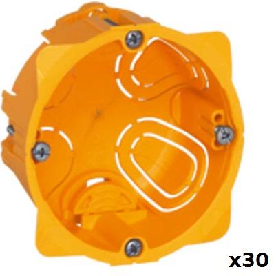 LEGRAND - Lot de 30 Boîtes monoposte Batibox - cloison sèche - vis/griffe - 1 poste - prof. 40 - REF 080041