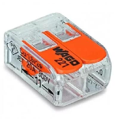 WAGO - Boîte de 100 Bornes auto fils Souple / Rigide 2 x 0.08 à 4mm2 - ref 221-412