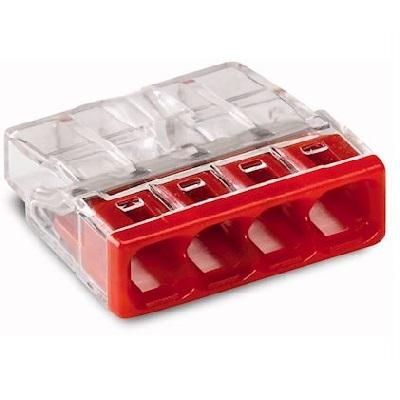 WAGO - Boîte de 100 Bornes de connexion - 4 pôles - transparent, rouge - REF - 2273-204
