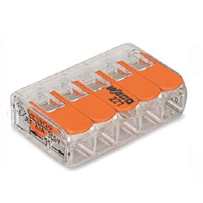 WAGO - Boîte de 25 Bornes de connexion 5 entrées pour boîte de dérivation - ref 221-415