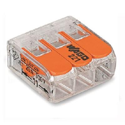 WAGO - Boîte de 50 Bornes de connexion 3 entrées pour boîte de dérivation - ref 221-413