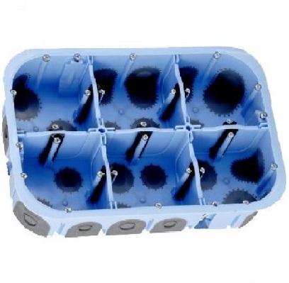 EUR\'OHM - Boite d\'encastrement pour cloison sèche - XL Air\'Métic - 2x3 postes - Ø 67mm - Profondeur 50mm - REF 51020