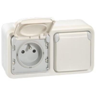 LEGRAND - Double prise de courant étanche 2P+T précâblées à l\'horizontale Plexo composable IP55 16A 250V - blanc - Ref 069642