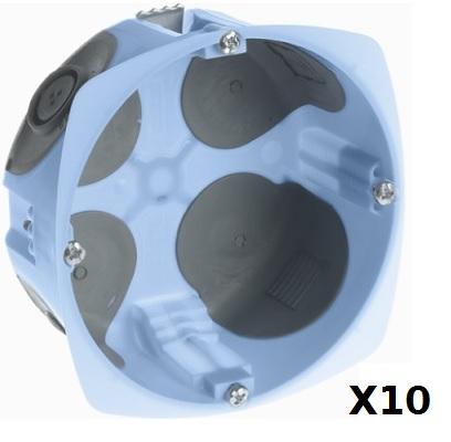 EUR\'OHM- Lot de 10 Boîtes d\'encastrement étanches à l\'air - vis - 1 poste - profondeur 40mm - ø 85mm - REF 52070
