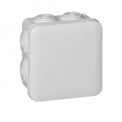 LEGRAND - Boîte carrée 80x80x45 étanche Plexo gris - embout (7) -IP55/IK07- 650C - REF 092012