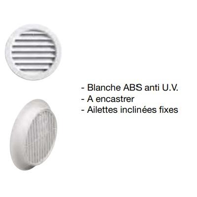 AXELAIR- VORTICE - Grille plastique Blanc Pour Aérateur Ø 100- Réf - GPBLEMD10F70