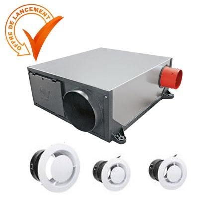 AXELAIR-VORTICE - Kit VMC hygro Var Platt + 3 bouches traditionnellles - Réf - KVVPL