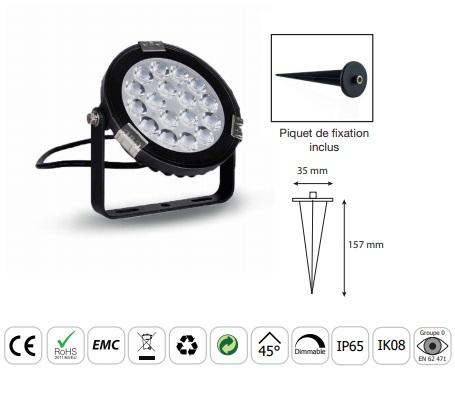 MIIDEX - Projecteur LED extérieur RGB + Blanc 9W - Réf - 80104