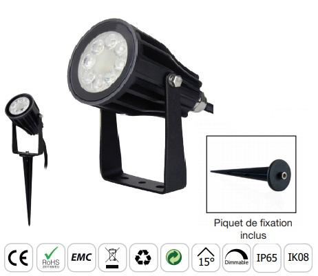 MIIDEX - Projecteur LED extérieur RGB + Blanc 6W - Réf - 80105
