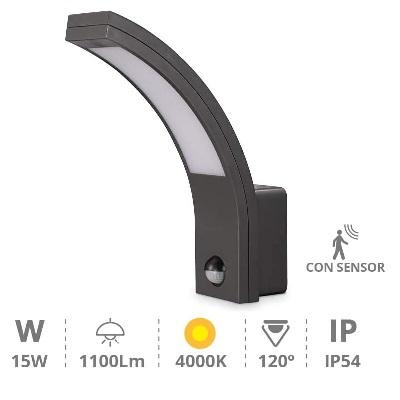 GSC - Applique Murale LED détecteur infrarouge - 4200K - 15W - noir - Ref - 200205010