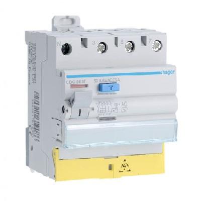 HAGER - Interrupteur différentiel - 3P+N 63A 30mA AC bornes décalées - Ref CDC863F