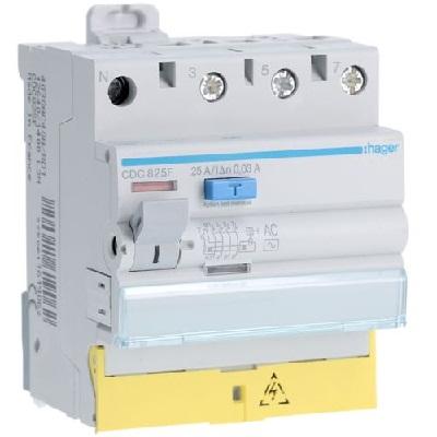 HAGER - Interrupteur différentiel 3P+N 25A 30mA AC - bornes décalées - Ref CDC825F