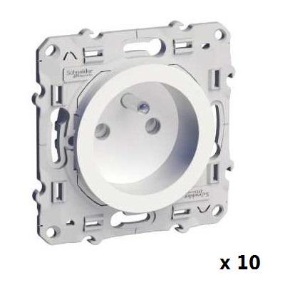 LOT - SCHNEIDER ELECTRIC - 10 Prises de courant Odace - 2 P+T 16A - Spéciale Rénovation - Réf - S520049