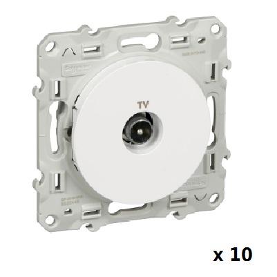 LOT - SCHNEIDER ELECTRIC - 10 Prises TV Blanc Odace - à vis - ref S520445