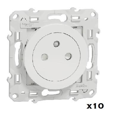 LOT - SCHNEIDER ELECTRIC - 10 Prises 2P+T Affleurantes - Réf - S520052