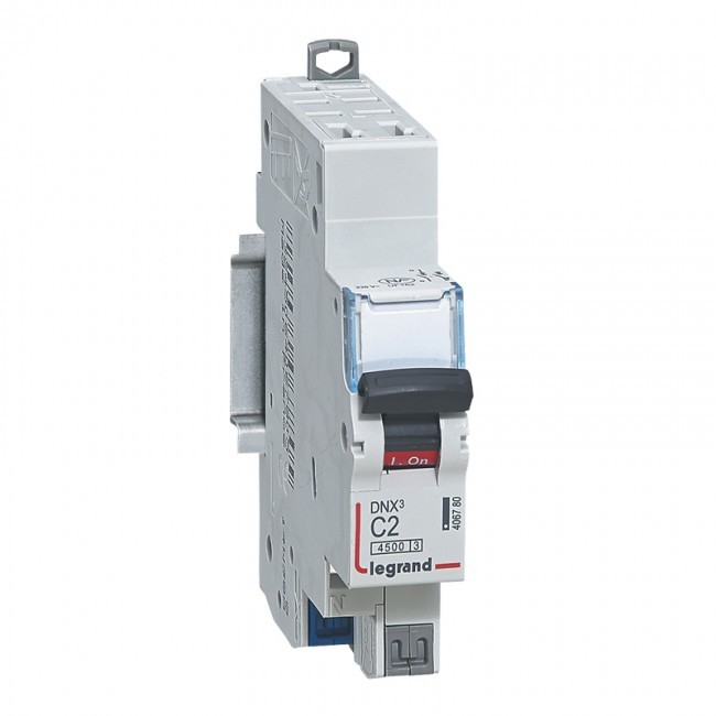 LEGRAND - Disjoncteur DNX³ 4500 arrivée et sortie borne automatique - 1P+N 230V~ 2A - courbe C - 1 mod - REF 406780