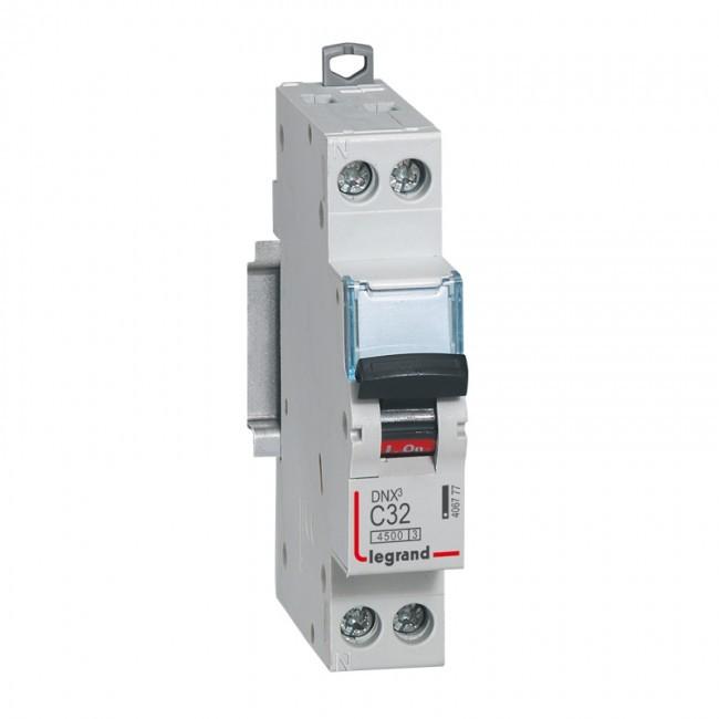 LEGRAND - Disjoncteur - DNX 4500 - vis/vis - U+N 230V~ 32A - 4,5kA - courbe C - 1 mod - REF 406777