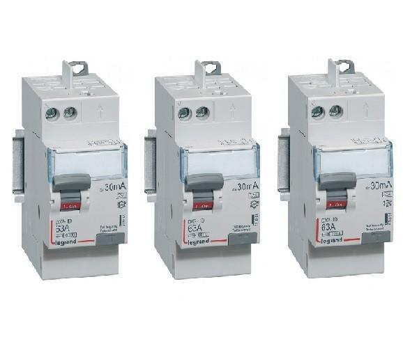 LEGRAND - Lot de 3 Interrupteurs différentiels DX³-ID - vis/auto - 2P - 63A - type AC -30mA-départ haut- 2 M - REF 411650