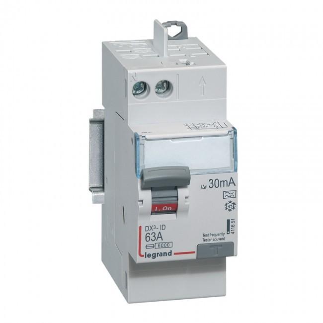 LEGRAND Interrupteur différentiel DX³-ID vis/auto 2P 63A type A -30mA-départ haut- 2 M - REF 411651