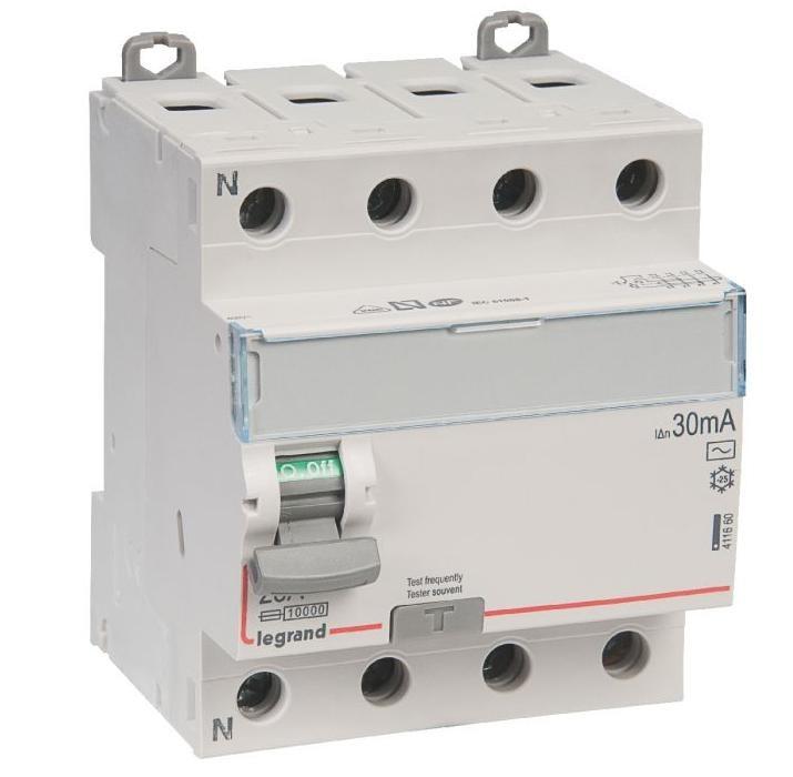 LEGRAND - Interrupteur différentiel DX-ID - vis/vis - 4P- 400V~- 25A - type AC - 30mA - départ bas - 4M - REF 411660