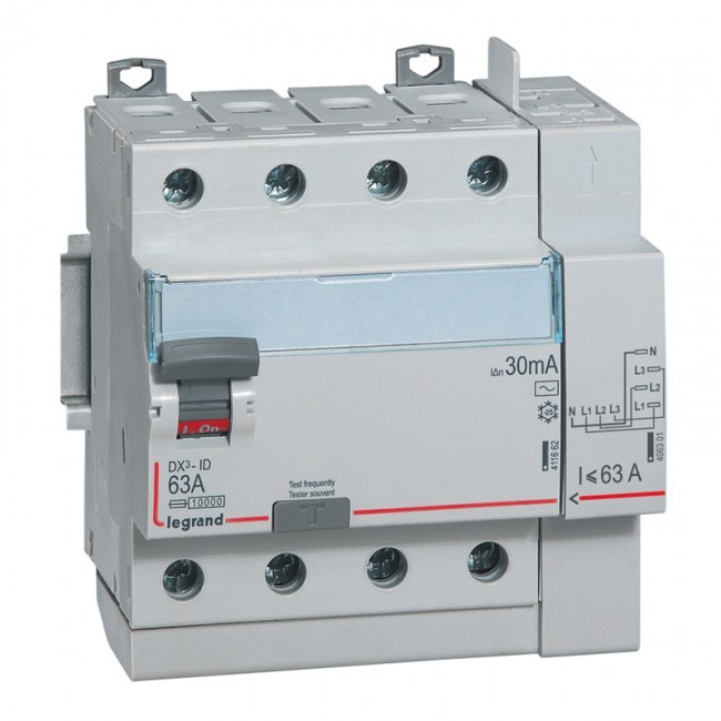 LEGRAND - Interrupteur différentiel DX-ID - vis/auto - 4P - 400V~ - 63A -type AC - 30mA -départ haut- 5M - REF 411653