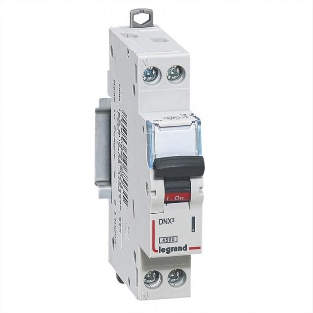 LEGRAND - Disjoncteur DNX 4500 - auto/auto - U+N 230V~ 25A - 4,5kA - courbe D - 1 mod - REF 406811