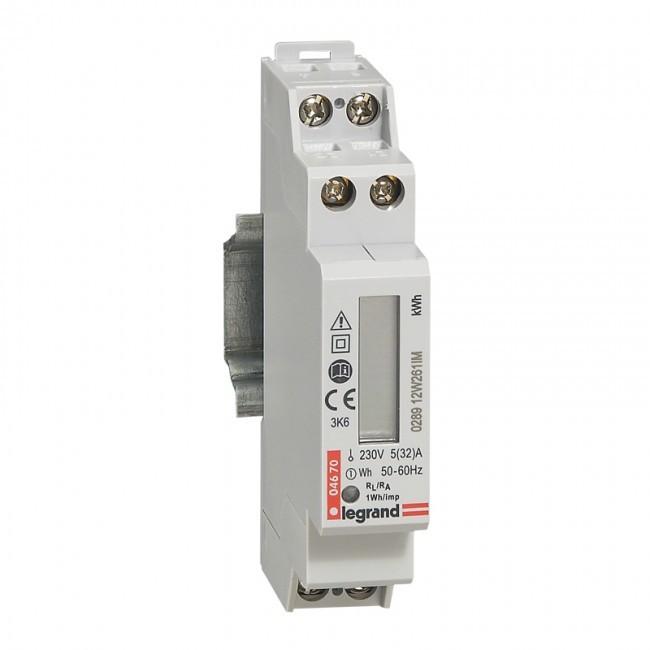 LEGRAND - Compteur d\'énergie monophasé EMDX - non MID - raccdt direct 32 A - 1 mod - REF 004670