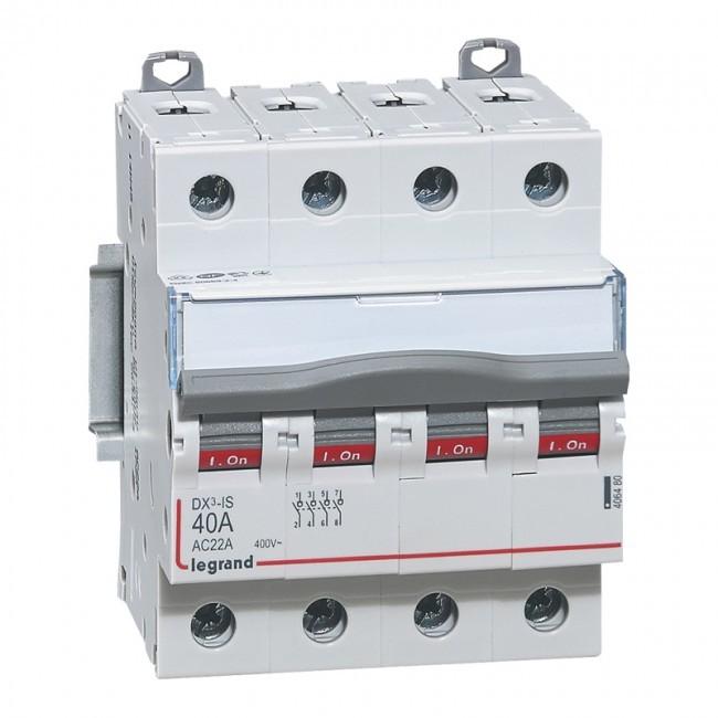 LEGRAND - Interrupteur-sectionneur de tête DX-IS - vis/vis - 4P - 400 V~ - 40 A - 4 M - REF 406480