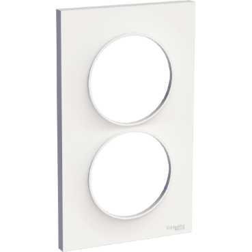 SCHNEIDER ELECTRIC - Odace Styl plaque Blanc 2 postes verticaux entraxe 57mm - REF S520714