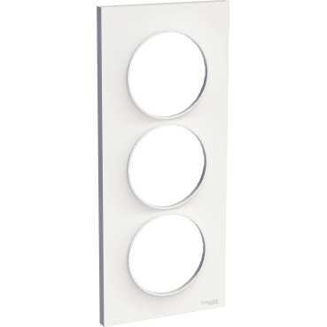 SCHNEIDER ELECTRIC - Odace Styl plaque Blanc 3 postes verticaux entraxe 57mm - REF S520716