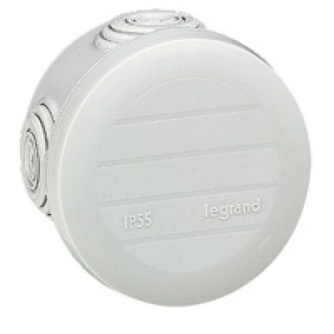 LEGRAND - Boîte ronde - Ø 60/h 40 étanche Plexo gris - embout (4) -IP55/IK07- 650C - Réf  092001