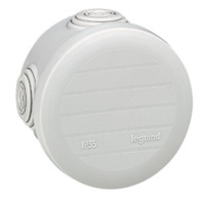 LEGRAND - Boîte ronde - Ø 70/h 45 étanche Plexo gris - embout (4) -IP55/IK07- 650C - REF 092002