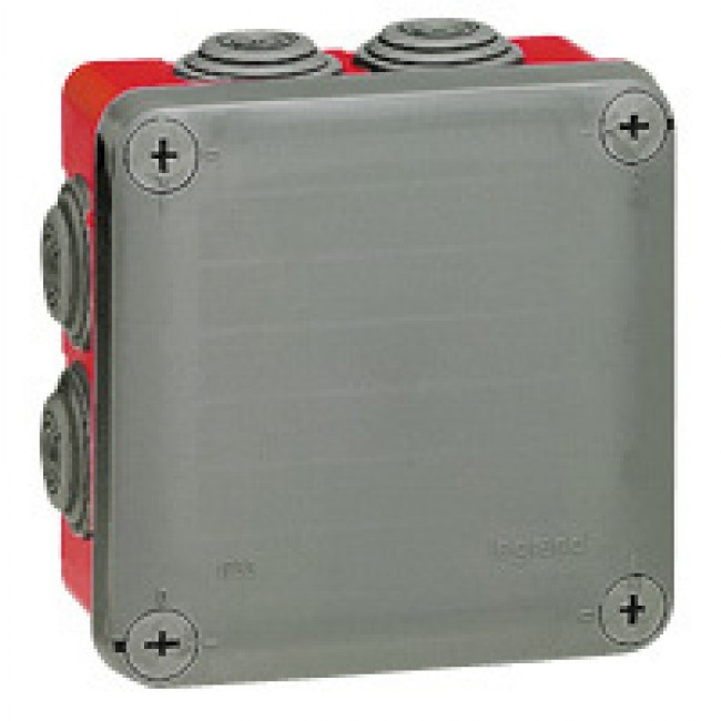 LEGRAND - Boîte carrée 105x105x55 étanche Plexo gris/rouge - embout (7) -IP55/IK07- 960C-  REF 092025
