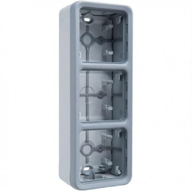 LEGRAND - Boîtier à embouts Prog Plexo composable gris - 3 postes verticaux - REF 069679