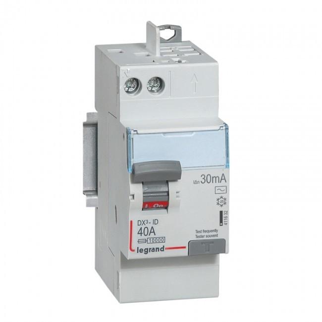 LEGRAND - Interrupteur Différentiel  DX-ID - vis/auto - 2P - 230V~ - 40A -type AC - 30mA -départ haut- 2M -  REF 411632