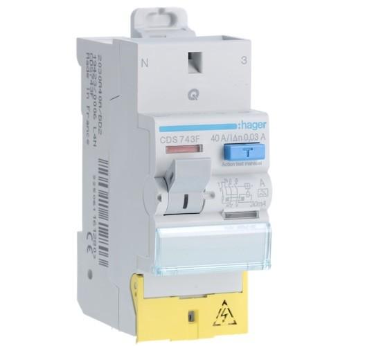 HAGER - Interrupteur différentiel  2P 40A 30mA Type A SanVis - Ref CDS743F