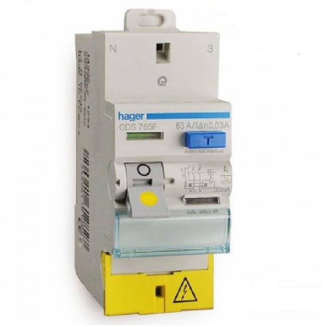 HAGER - Interrupteur différentiel - 2P 63A 30mA Type A Sans Vis - Ref CDS765F