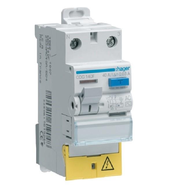 HAGER - Interrupteur différentiel - 1P+N 63A 30mA HI bornes décalées - Ref CDH163F
