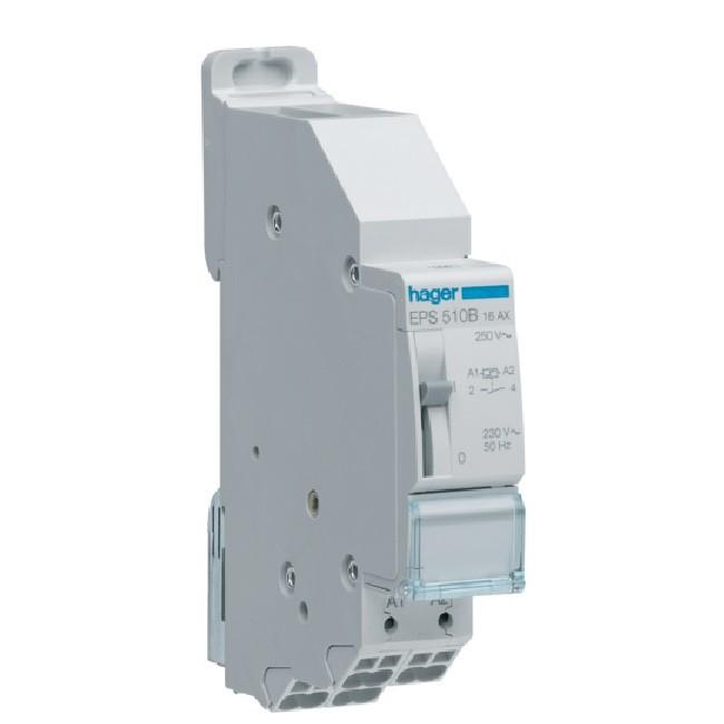 HAGER - Télérupteur 1F 230V Sans Vis avec passage de barre - Ref EPS510B